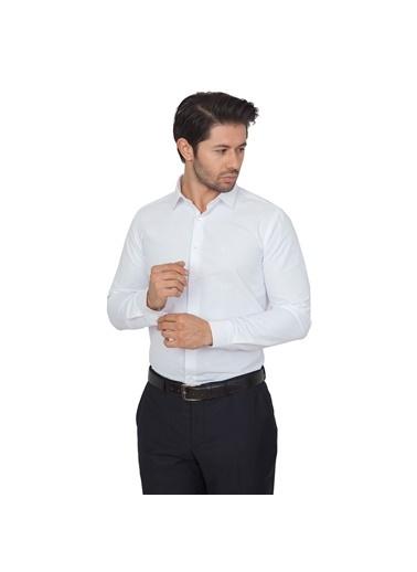 White Stone Pamuklu Slim Fit Uzun Kollu Gömlek Beyaz Beyaz